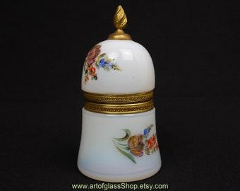 Vintage French hand decorated white opaline glass trinket box/casket