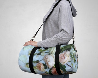 a6c9bc183d Floral duffel bags for woman with English roses photographic print