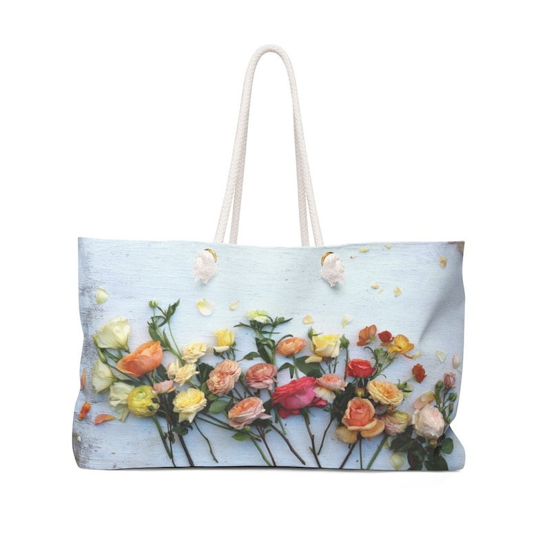 93f101ab894 Large floral beach tote bag with roses organizer bag
