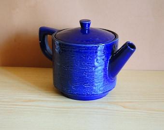 Vintage Scandinavian art studio pottery teapot / Tea pot in Blue Glazed Stoneware / Swedish Design M. Simmulson Upsala Ekeby / kitchen decor