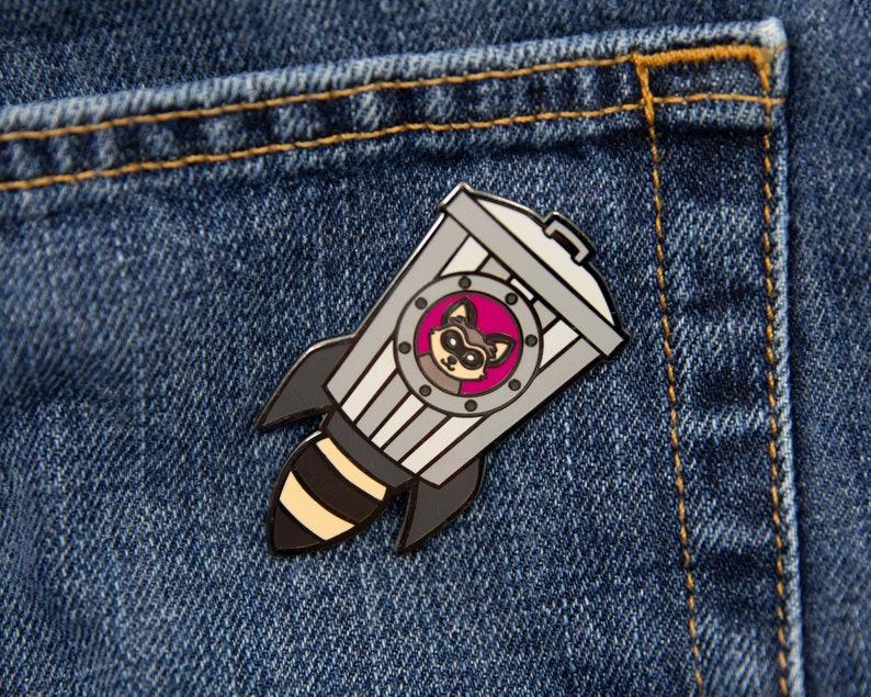 Raccoon Rocket enamel lapel pin