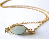 Aquamarine Wire Wrapped Gemstone Necklace, Romantic, Gift for Mom, Friend Gift, Anniversary Gift, Birthday Gift