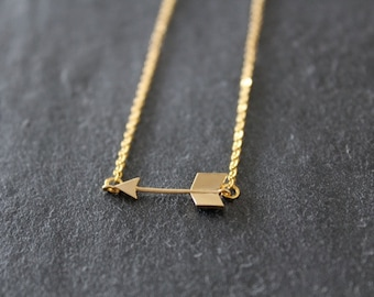 Arrow Pendant Gold Necklace, Everyday, Girlfriend, Mom, Friend, Anniversary Gift