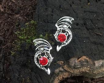 RP20. Dragon Red CZ Post Earrings. Retro Gothic Steampunk Halloween Punk Post Earrings. Hypoallergenic. Nickel Free