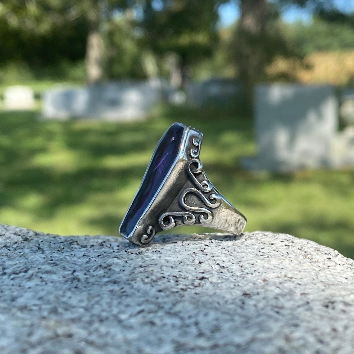SR14. Vampire Coffin Skeleton Skull Ring Unique Purple Resin Filled Quality 316L Stainless Steel Rin…