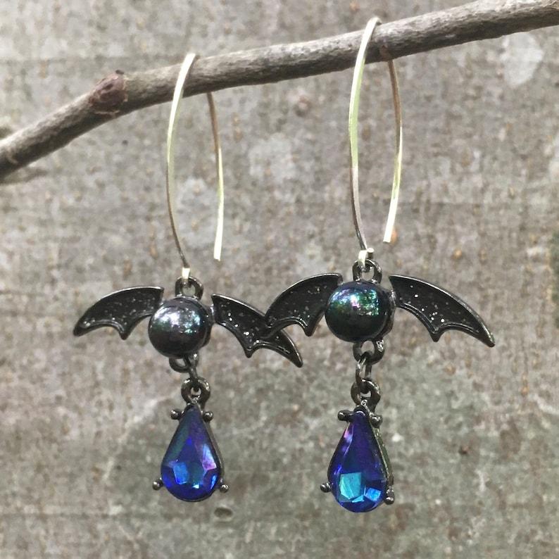 RW019 Blue Crystal Rhinestone Pearl Bat Vampire Dragon Earrings Sterling Silver Xtra Long Hoops Steampunk Gothic Halloween Jewelry 3\u201d drop.