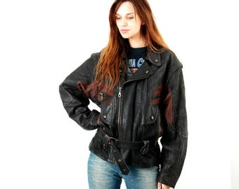 Vintage 80s Biker Jacket / Motorcycle Jacket / Moto Jacket / Crop Jacket / Belted Jacket / Vintage Clothing  / Size L
