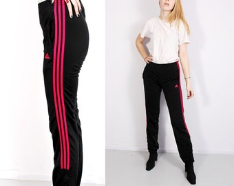 05d74b7e3561 90s Adidas Pants Sport trousers Track Pants Three Stripes Pants Pink And  Black Satin Sporty Pants Mod Vintage - S-M