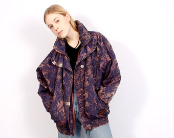 41c39775dc 80s Printed Jacket Vintage Purple Parka Ski Paradise Coat Puffer Funny  Print Wear Ladies Jacket Winter Holiday - L