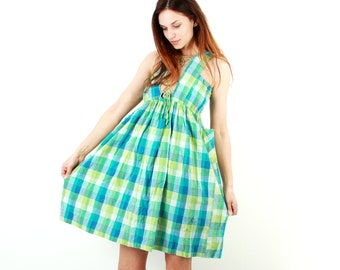 Green Plaid Cotton Dress / Vintage Tartan Dress / Summer Dress / Day Dress / Casual Dress / Colorblock Dres / Size S