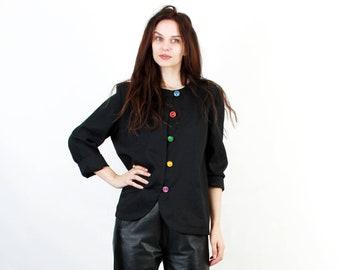 Vintage 80s Minimalist Jacket / Black Blouse / Colorful Buttons Jacket  / Simple Jacket / Funny Jacket / Glam Stones Jacket / Size L / XL