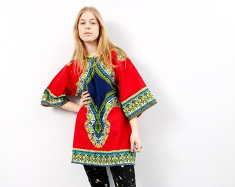 bb5eb300b95 Dashiki Tunic Vintage African Tunic Unisex Kaftan Traditional Folk Ethnic  Red And Green Abstract Top - Size Plus One Size