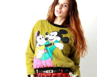 Mickey Mouse Sweater /  Disney Jumper / Funny Jumper / Cartoon Jumper / Pop Print Jumper / Hipster Sweater / Fun Sweatshirt / Size S