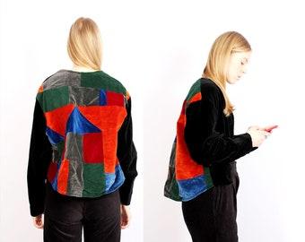 c8f0f5ea2442b 80s Colourblock Jacket Block Velvet Jacket Boxy Jacket Spring Short Jacket  Red Green Black Vintage Jacket - L