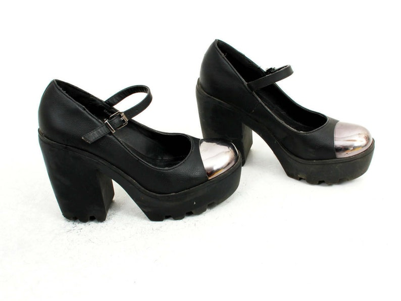 d82e8852a 90s Creeper High heels With Metal Toe Platform Shoes Creeper