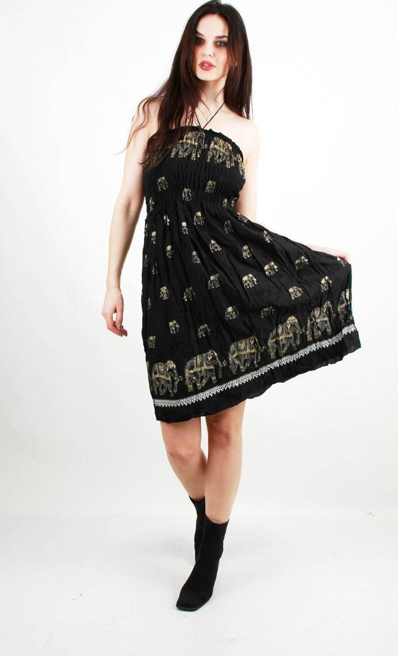 055727ba8444d Indian Summer Dress Cotton Dress Elephant Dress Oriental Dress Halter Dress  Beach Dress Boho Dress Sun Dress Empire Dress - Small - Size S