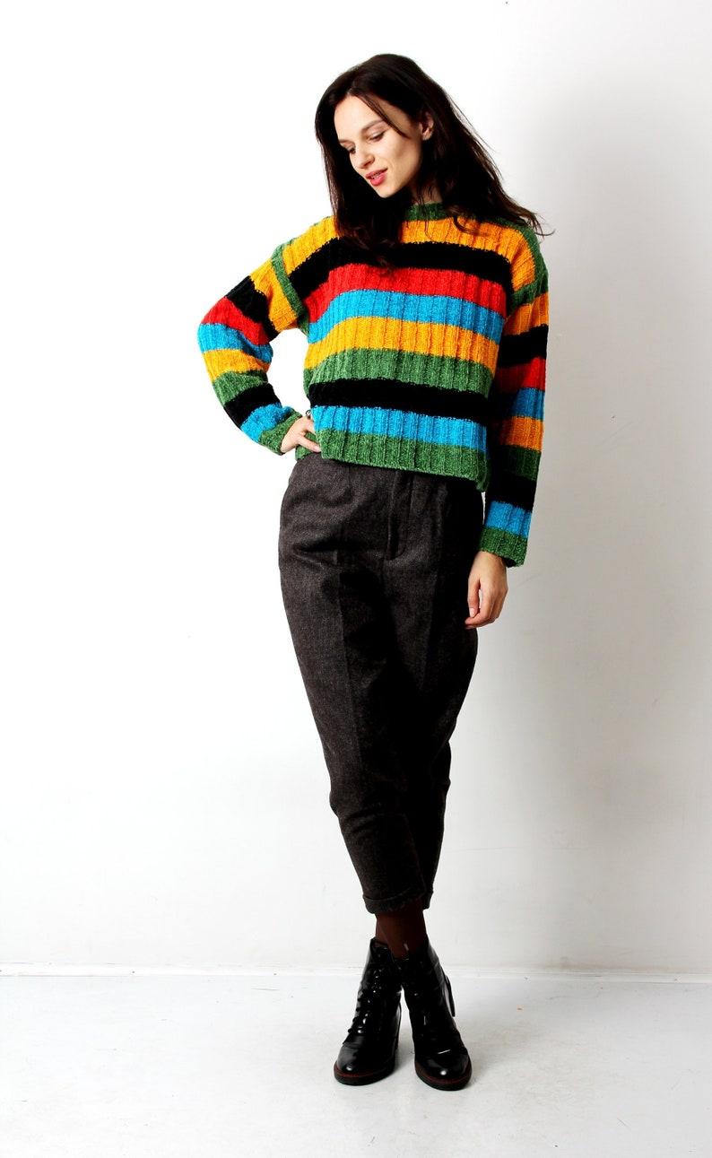 7bb1b5334 80s Rich Colours Sweater Blue Black Orange Red Striped