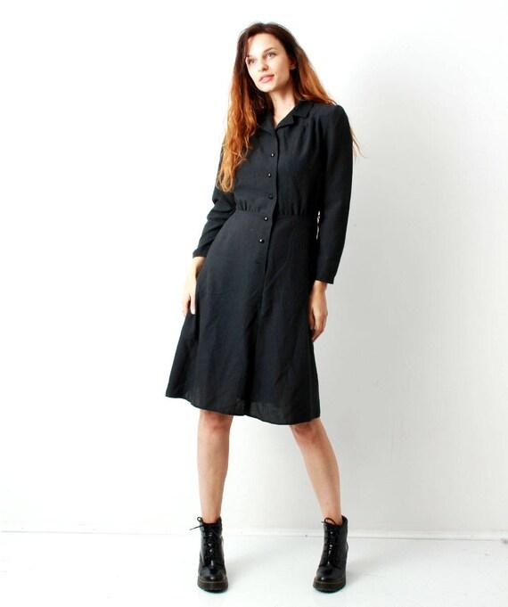 Black Minimalist Dress Long Sleeve Dress Simple Dress Etsy