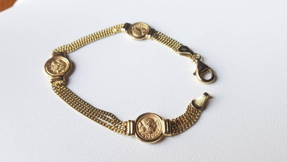 Vintage 14K Yellow Gold Faux Ancient Greek Coins 3 Strand Link Bracelet 7""