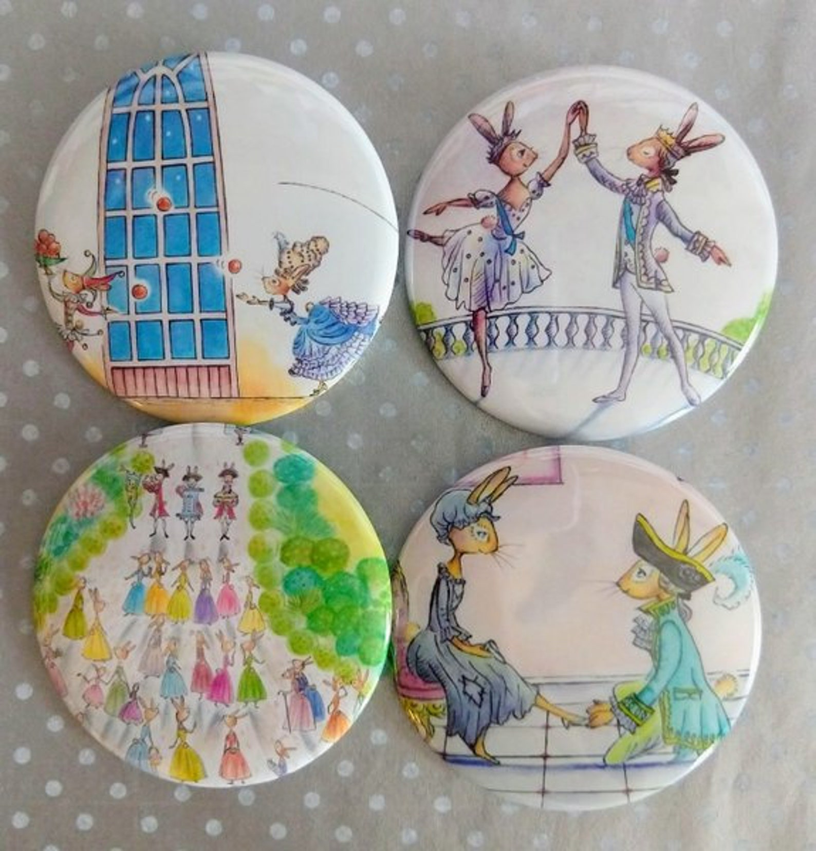 cinderella ballet bunnies buttons (set of 2 - 2.25