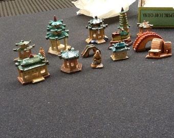 1960's dime store earthen miniature landscape ornaments for  bonsai planting or fairy gardens