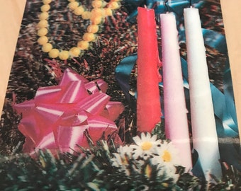 1960's lenticular 3d candles with necklace scene post card with nice vibrant colors