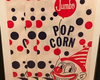 Vintage circus paper popcorn bags set of 3 with clown wearing party hat.