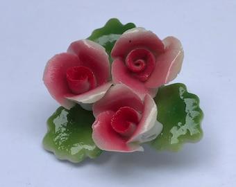 Vintage ceramic rose brooch pin.