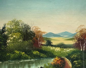 Vintage wilderness painting oil on canvas number P1