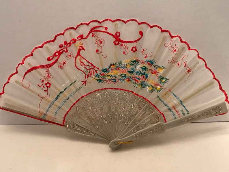 Vintage fabric embroidered fan with peacock design 2 colors available.