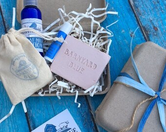 BATH IN A BOX, Small gift package, 2.5 oz goatmilk soap, 2 oz. goat milk lotion, lip balm, bath tea