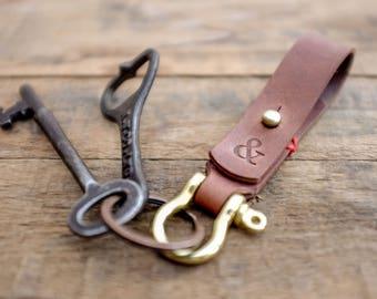Keychain / Leather / Key Ring / Fob / Lanyard / Walnut