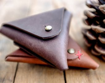 Triangle Coin Pocket / Leather / Wallet / Purse / Chestnut