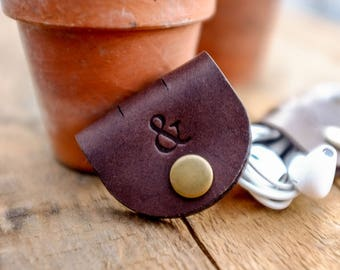 Leather Cable Organiser / Tidy / Headphone / Holder / Chestnut