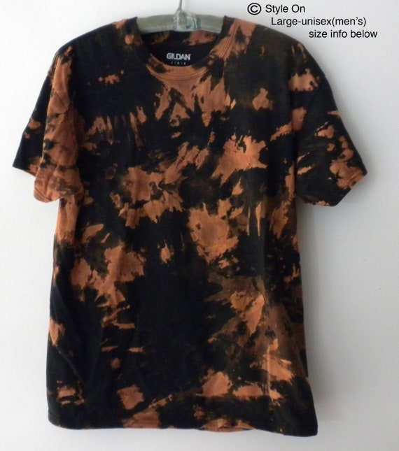 3b8c363bbedce Tie dye t-shirt, Black, Acid wash shirt, Orange, Grunge, Galaxy, Rocker,  Black, reverse tie dye, Large, Unisex
