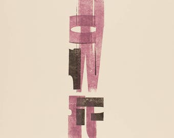 Abstracted Letterpress Print, Pink and Black