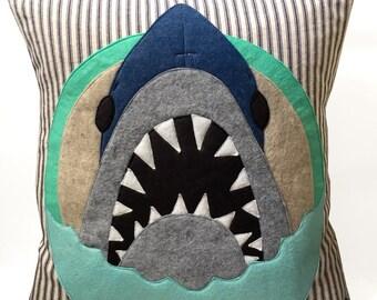 Felt Applique Shark Pillow Case
