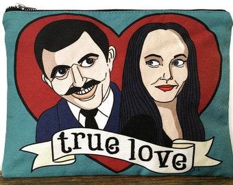 Small Bag Morticia and Gomez Pouch with Original Artwork