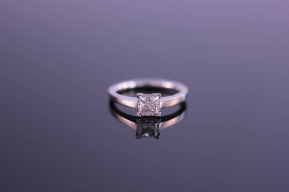 0.6ct Esdomera Moissanite Square Shape Solitaire Design 14k White Gold Engagement Wedding Rings CFR0482-ESMS0.6CT