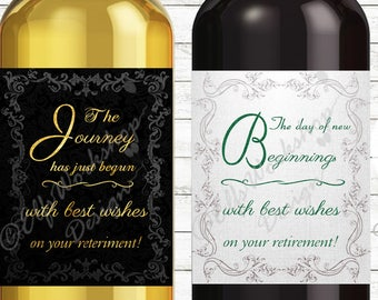 Retirement label, Wine bottle label for Retirement party, Printable party labels, Retirement party, Champagne bottle labels