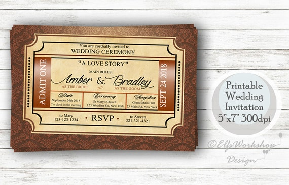 Cinema Wedding Invitation Cinema Theme Invitation Cinema Etsy