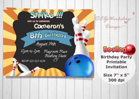 Produkty Podobne Do Bowling Zaproszenie Kręgle Urodziny Zaproszenie