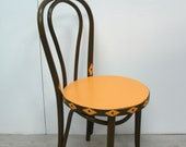1920s Coffeehouse Chair Bentwood Thonet in Brown Orange, with hand-painted Orange Pattern