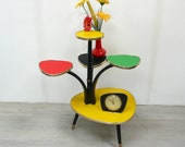50s 60s Tall PLANT TABLE 5 triangle Levels with yellow-red-green-black Vinyl, Rockabilly Mid Century Modern Era Germany