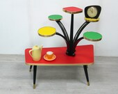50s 60s Large PLANT TABLE 6 Levels Trapezoid shape, red-green-yellow Vinyl, German Rockabilly Mid Century Modern Era