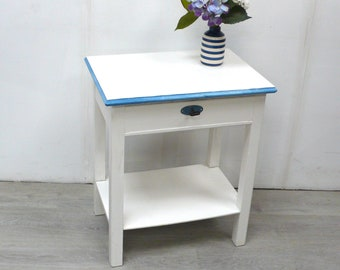 1930s Side Table w/ drawer w/ shelf in shabby White + Blue German Cottage Style