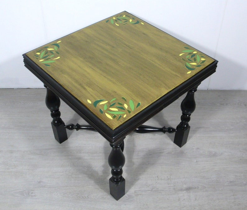Awesome 40S Coffee Table Square Pull Out Rare Side Table Dark Nutwood Shabby Gold Artfully Handpainted Antique Style Download Free Architecture Designs Lukepmadebymaigaardcom