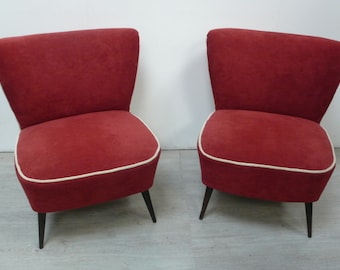 Two 50s Cocktail chairs Club Seats in Red upholstery textile German Mid Century Modern