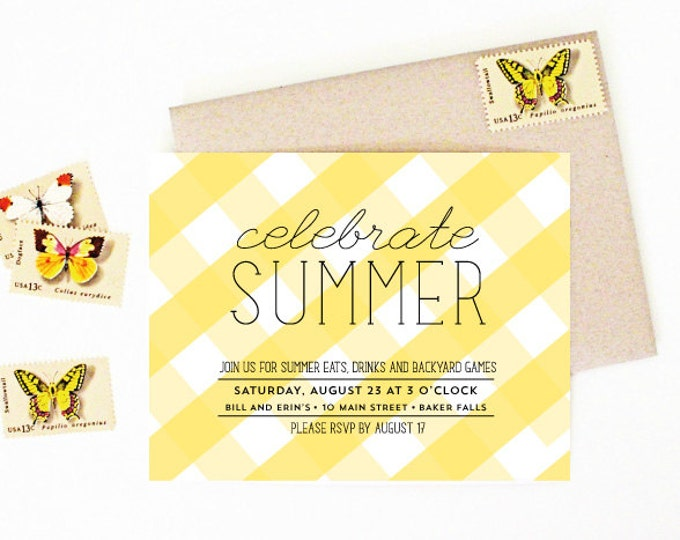 Summer Party Invitation - BBQ Cookout Invitation -