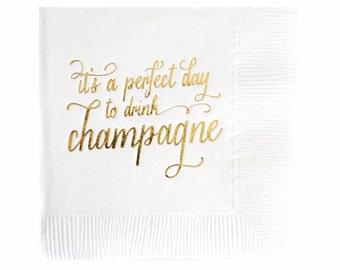 Champagne Napkins - Set of 20